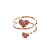 DOUBLE WRAP RING WITH MULTICOLOR HEARTS