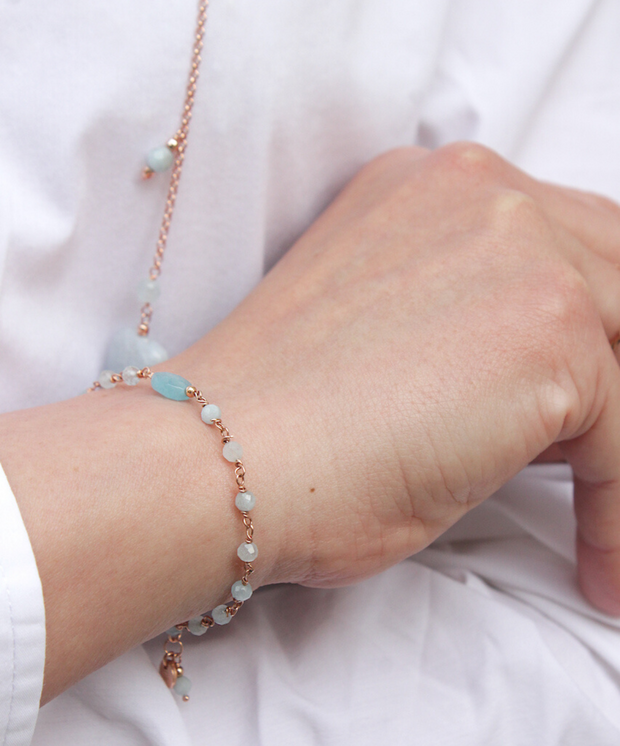 ANGELITE AND AQUAMARINE BRACELET