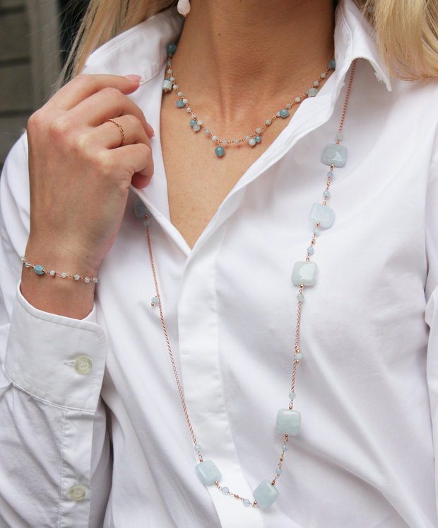 LONG NECKLACE WITH AQUAMARINE GEMSTONE