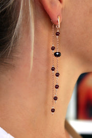 DOUBLE EARRINGS WITH GARNET