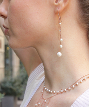 3 STRAND EARRINGS WITH FRESHWATER PEARLS