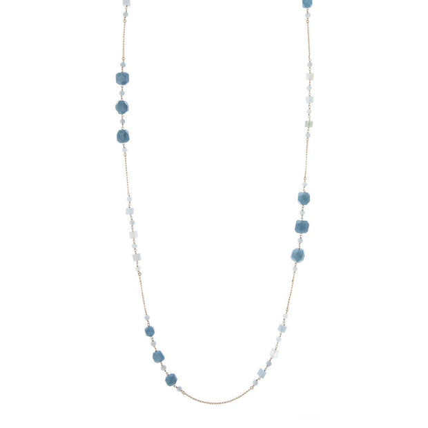 LONG NECKLACE WITH ANGELITE AND AQUAMARINE