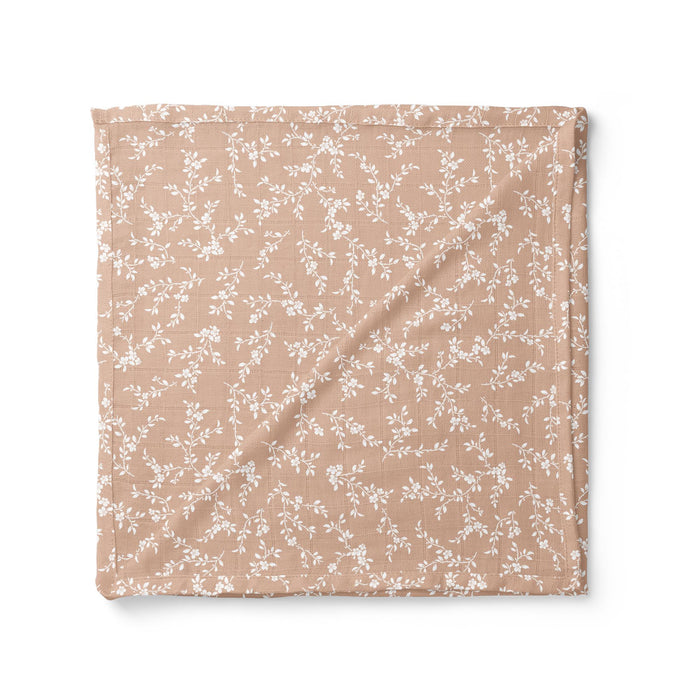 Muslin Cotton Swaddle - Bloom - Peach-Swaddle-The Mini Scout-Eko Kids