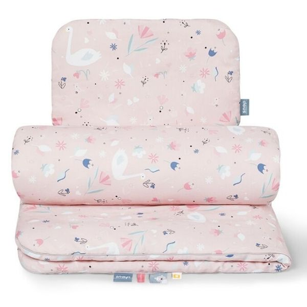 Snao the moment Satin Cotton Baby Duvet Set blush swan