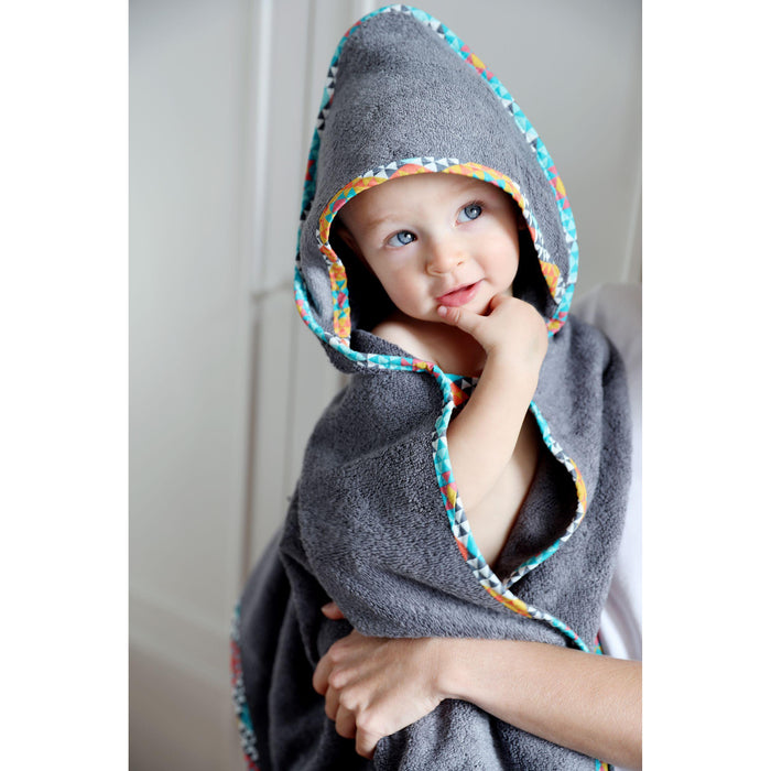 Bamboo Hooded Towel-Towel-Pink No More-Grey / Botanic-80 x 80 cm-Eko Kids