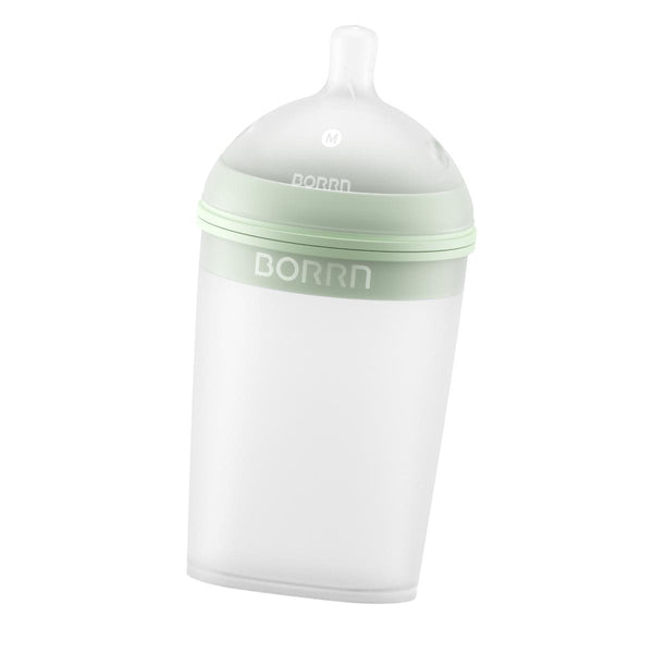 Ultra Wide-Neck Silicone Baby Bottle - 240 ml-Bottle-BORRN-Green-Eko Kids
