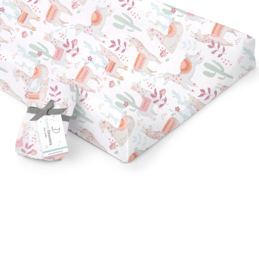 Changing Pad Cover/Crib Fitted Sheet-Fitted Sheet-ColorStories-Lazy Llamas-Eko Kids