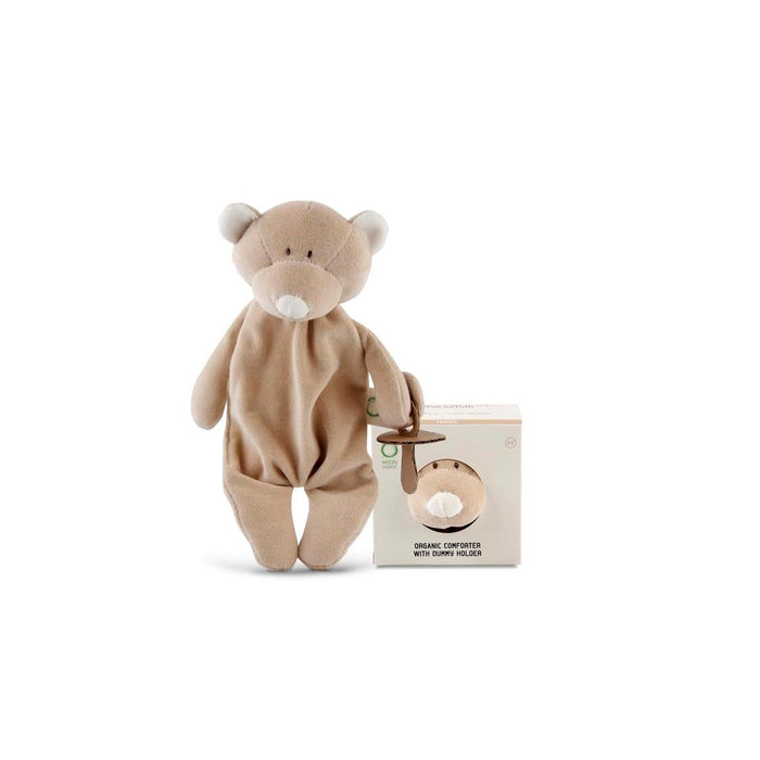 Organic Comforter With Dummy Holder-Comforter-Wooly Organic-Teddy Bear-Eko Kids