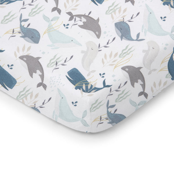 Cotton Cot Fitted Sheet - 120 x 60-Cot Fitted Sheet-ColorStories-Ocean-Eko Kids