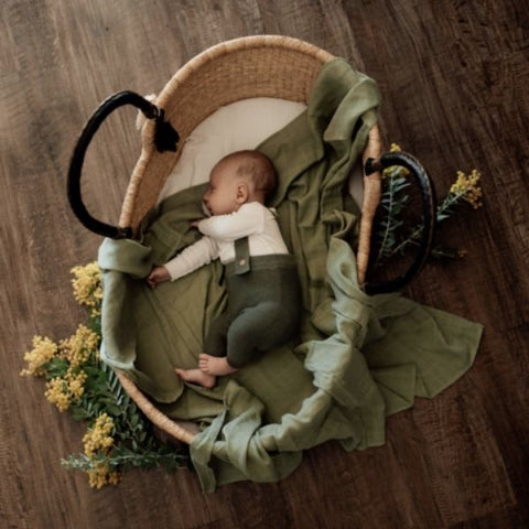 Essential Organic Muslin Swaddle-Swaddle-Pop Ya Tot-Summer Mint-120 x 120 cm-Eko Kids