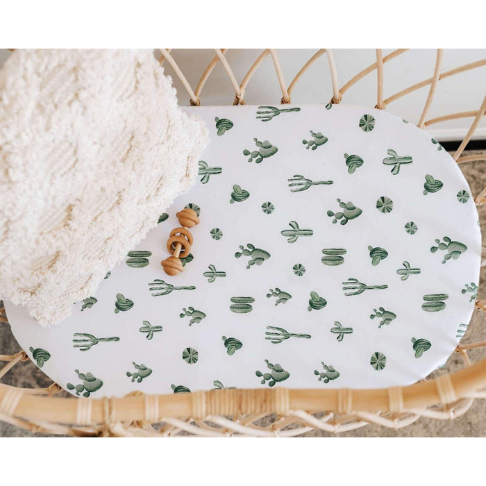 Fitted Bassinet Sheet / Change Pad Cover-Fitted Sheet-Snuggle Hunny Kids-Cactus-80 x 40 cm-Eko Kids