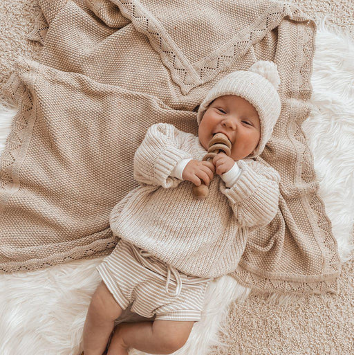 Heirloom Knit Blanket - Caramel Fleck-Blanket-Ziggy Lou-Eko Kids