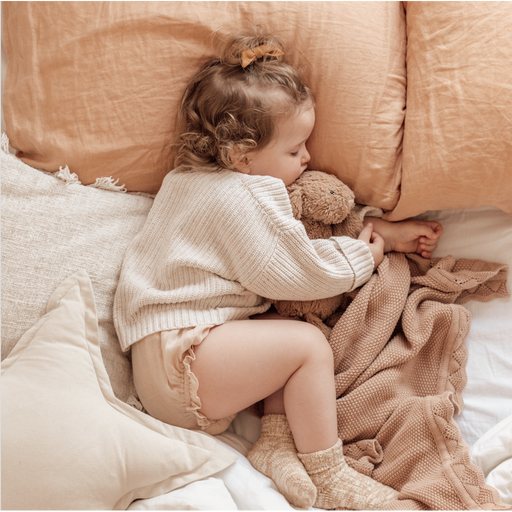 Heirloom Knit Blanket - Dusty Peach-Blanket-Ziggy Lou-Eko Kids