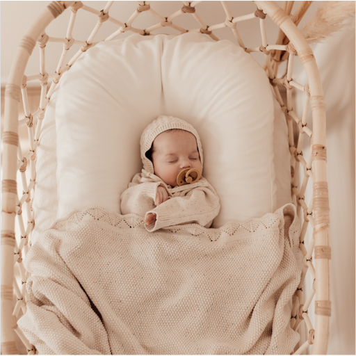 Heirloom Knit Blanket - Oatmeal Fleck-Blanket-Ziggy Lou-Eko Kids