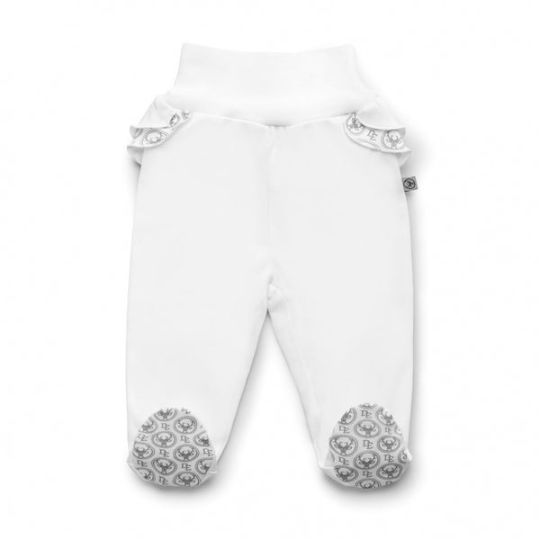 PIMA Cotton Joggers with Feet-joggers-Dear Eco-Newborn (56 cm)-White with Frills-Eko Kids
