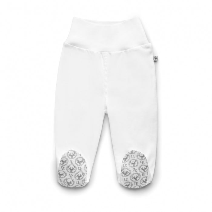 PIMA Cotton Joggers with Feet-joggers-Dear Eco-Newborn (56 cm)-White with Dear Eco Logo on feet-Eko Kids