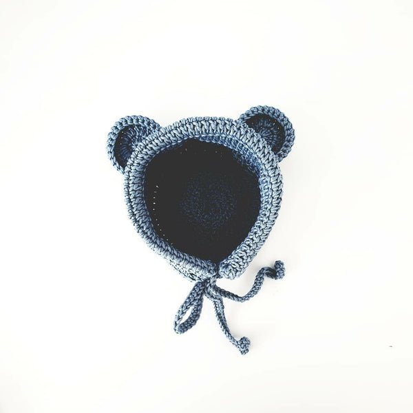 Teddy Bear Ears Baby Bonnet-Bonnet and Booties-Kiddy Stuff-Baby Blue-Eko Kids