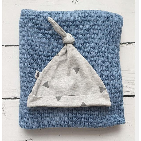 Knotted Beanie-Beanie-Pink No More-Grey/Triangles-Eko Kids