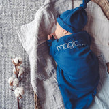 Baby Knotted Sleeping Gown and Beanie Set - snap the moment - blue
