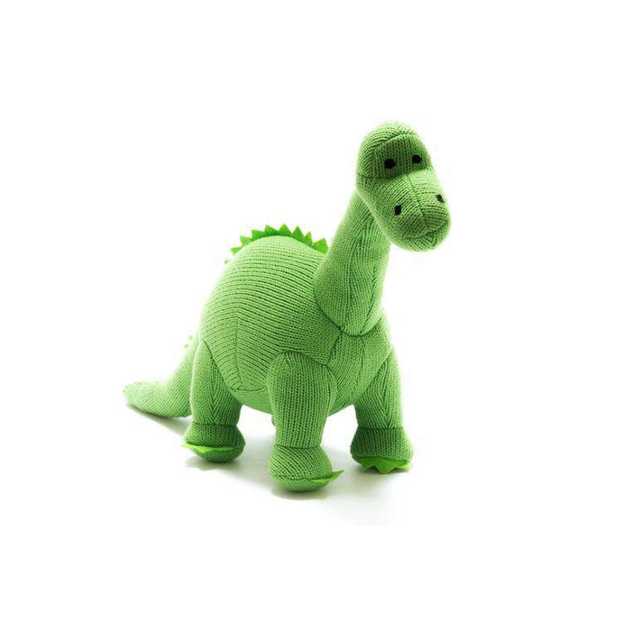 Knitted Dinosaur Rattle-Rattle-Best Years Ltd-Green Diplodocus-Eko Kids