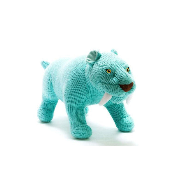 Large Blue Knitted Sabre Tooth Tiger Toy-Soft Toy-Best Years Ltd-Eko Kids