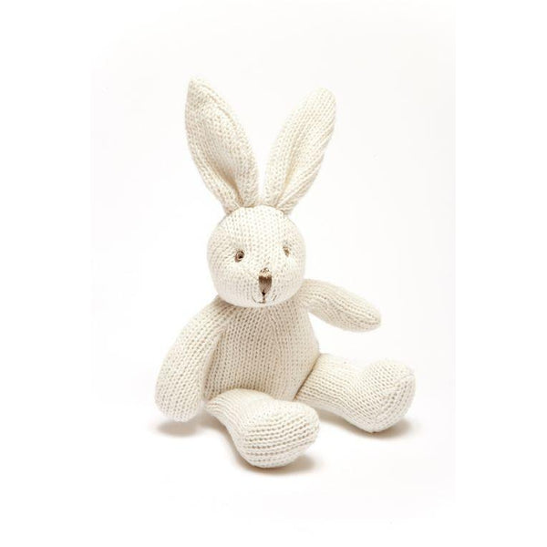 Knitted Organic Cotton White Bunny Rattle-Rattle-Best Years Ltd-Eko Kids