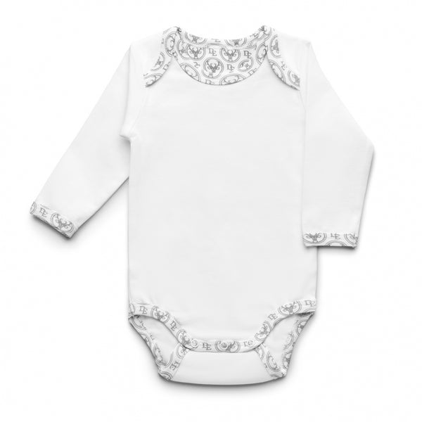 Long-sleeved PIMA Cotton Bodysuit-Bodysuit-Dear Eco-Newborn (56 cm)-White finished with Dear Eco Logo-Eko Kids
