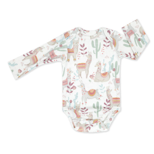Long-sleeved Cotton Bodysuit-Bodysuit-ColorStories-1-3 months (62 cm)-Lazy Llamas-Eko Kids