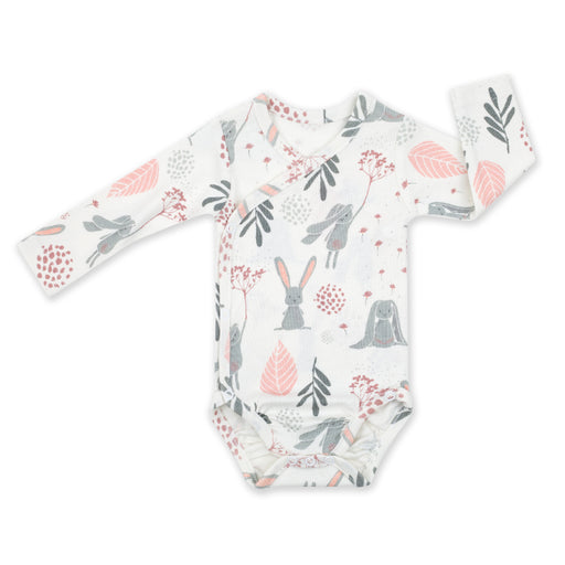 Wrapover Long-sleeved Cotton Bodysuit-Bodysuit-ColorStories-Bunny-Eko Kids
