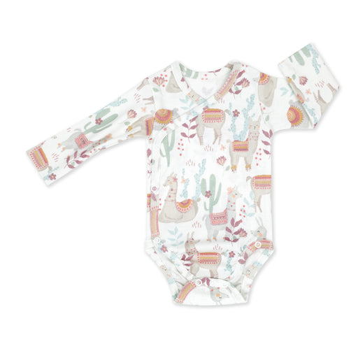 Wrapover Long-sleeved Cotton Bodysuit-Bodysuit-ColorStories-Lazy Llamas-Eko Kids