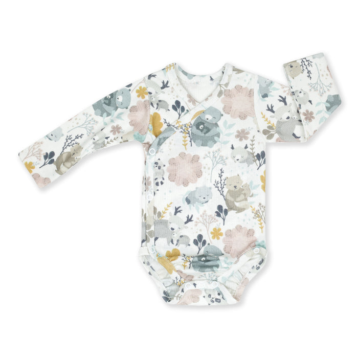 Wrapover Long-sleeved Cotton Bodysuit-Bodysuit-ColorStories-Mum and Me-Eko Kids