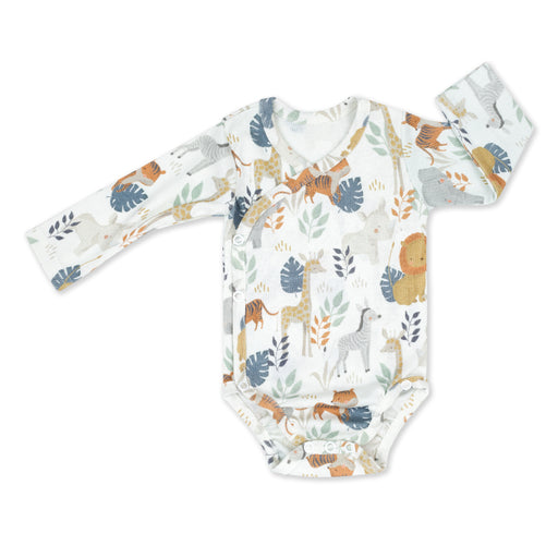 Wrapover Long-sleeved Cotton Bodysuit-Bodysuit-ColorStories-Safari-Eko Kids