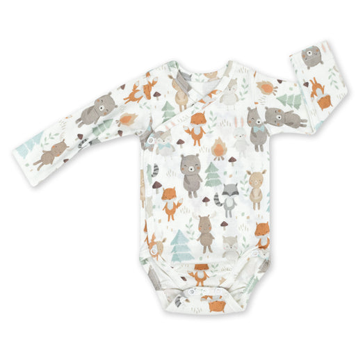 Wrapover Long-sleeved Cotton Bodysuit-Bodysuit-ColorStories-Woodland-Eko Kids