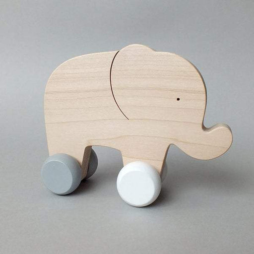 Mielasiela Natural Maple Wooden Push Toy elephant on wheels grey/white