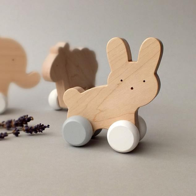 Mielasiela Natural Maple Wooden Push Toy bunny on wheels black/white