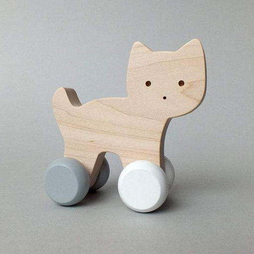 Mielasiela Natural Maple Wooden Push Toy cat on wheels grey/white