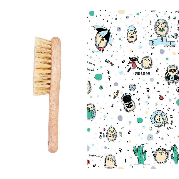 Cradle Cap Baby Brush and Muslin Cloth Set-Brush-Lullalove-Hedgehogs Blue-Eko Kids