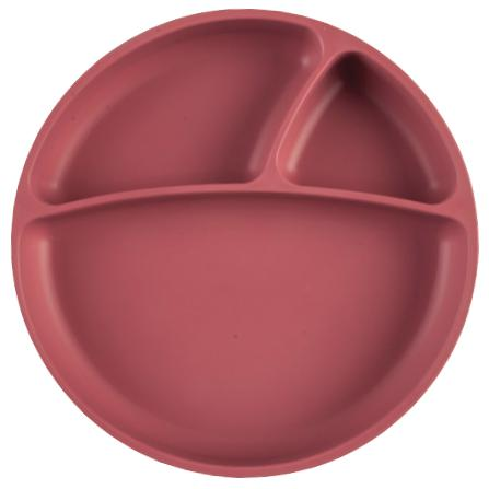 Portions - Silicone Divided Suction Baby Plate-Plate-Minikoioi-Rose-Eko Kids