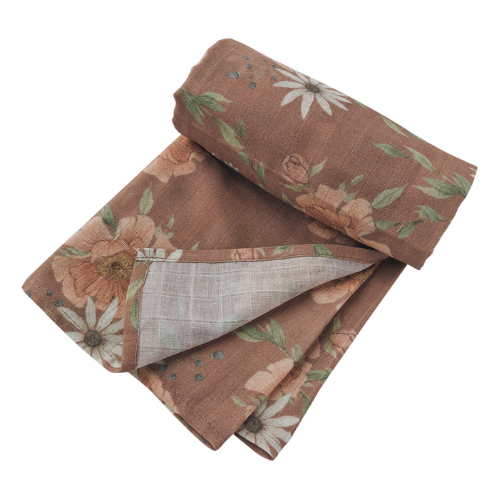 Muslin Cotton Swaddle - Peony Blooms - Clay-Swaddle-The Mini Scout-Eko Kids