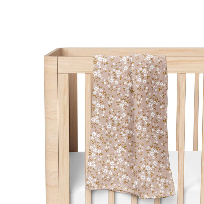Muslin Cotton Swaddle - Whimsy Floral - Peach-Swaddle-The Mini Scout-Eko Kids
