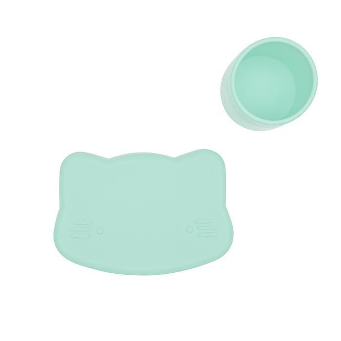 Cat Snackie Silicone Bowl & Plate-Plate-We Might Be Tiny-Mint Green-Eko Kids