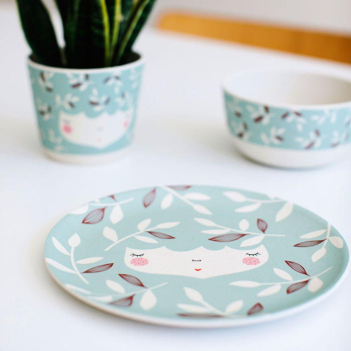 Flower Face Bamboo Dinner Set-Plate-Yuunaa-Mint-Eko Kids