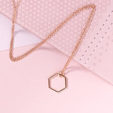 Load image into Gallery viewer, Rose Gold Hexagonal Necklace