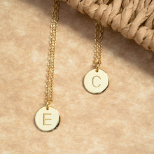 Load image into Gallery viewer, Gold Disc Initial Necklace