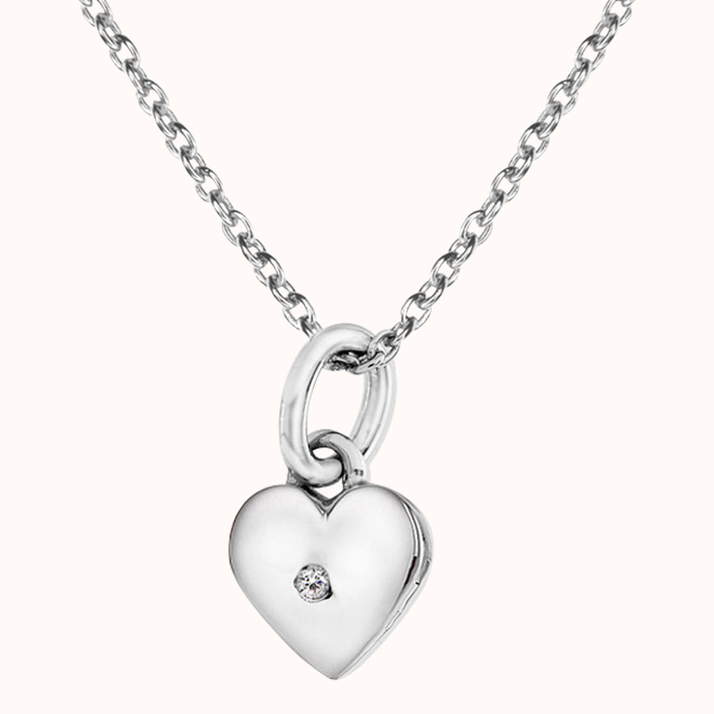 Sterling Silver Heart Necklace Hand-Set With A Diamond Accent