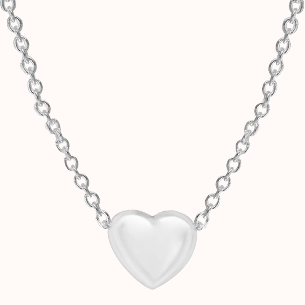 925 Sterling Silver 5mm X 6mm Heart Adjustable Necklace