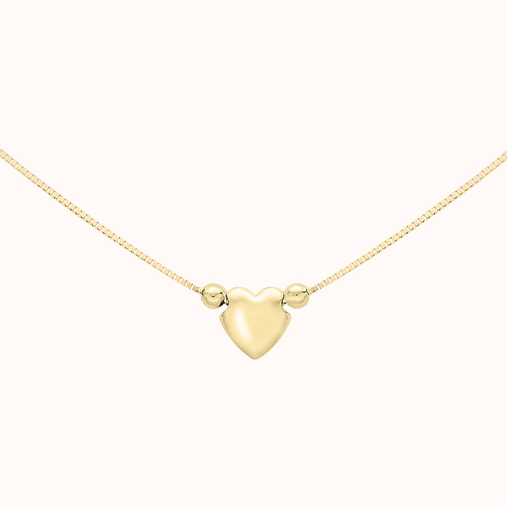 9ct Yellow Gold 3-Heart Charm Box Chain Necklace