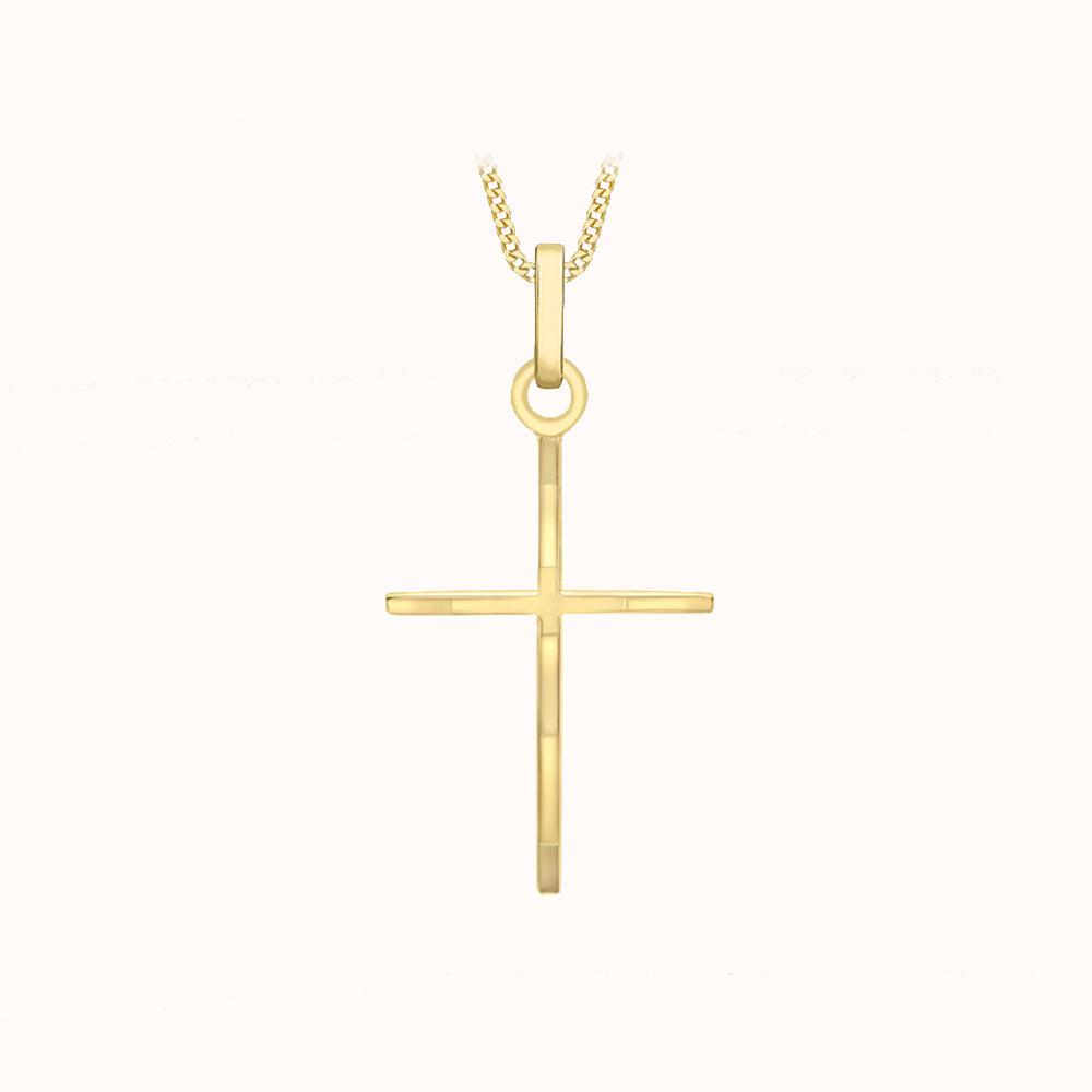 9ct Yellow Gold 15mm X 30mm Fancy Cross Pendant