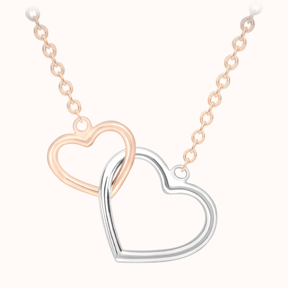 9ct Gold and Silver Interlocked Hearts Necklace