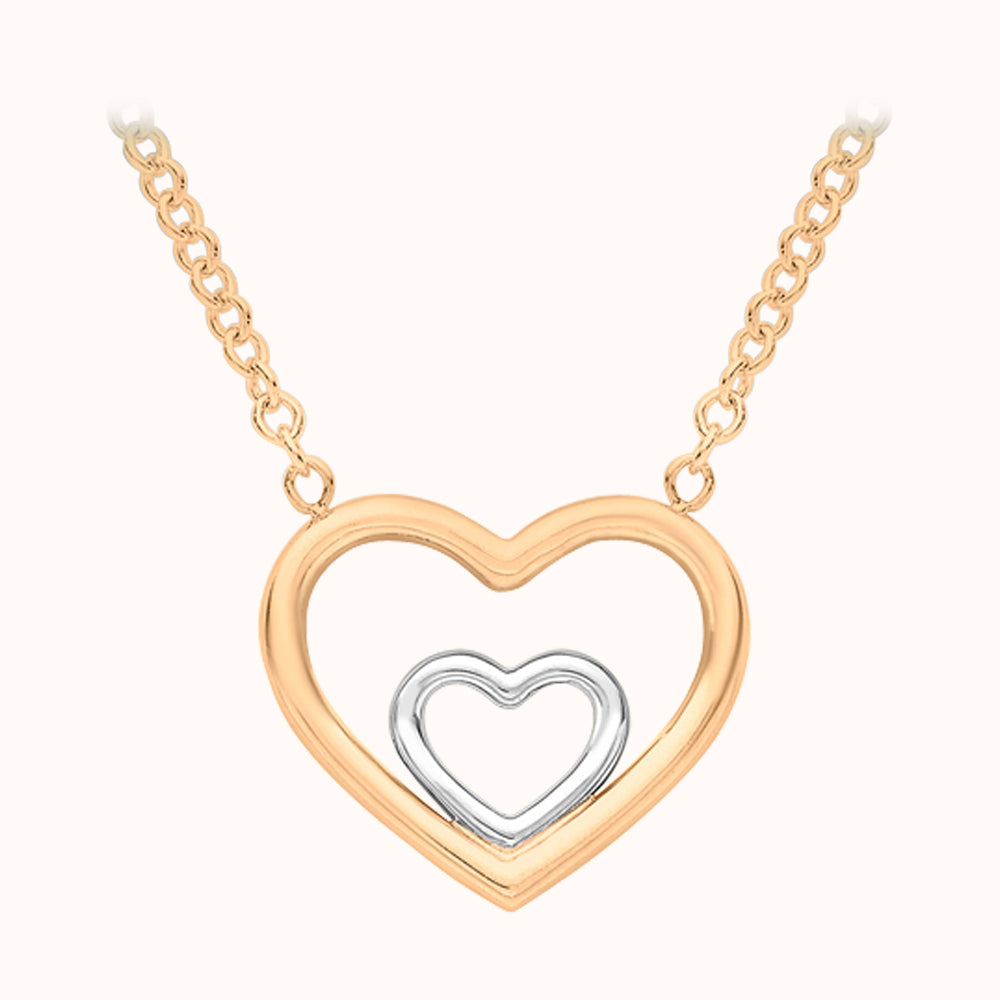 9ct Gold Double-heart Adjustable Necklace